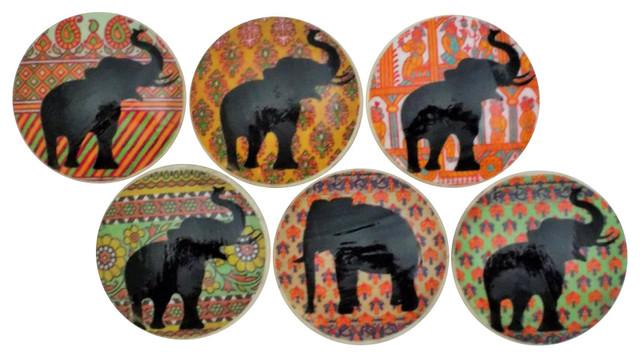 Paisley Elephant Cabinet Knobs, 6-Piece Set - Contemporary ...