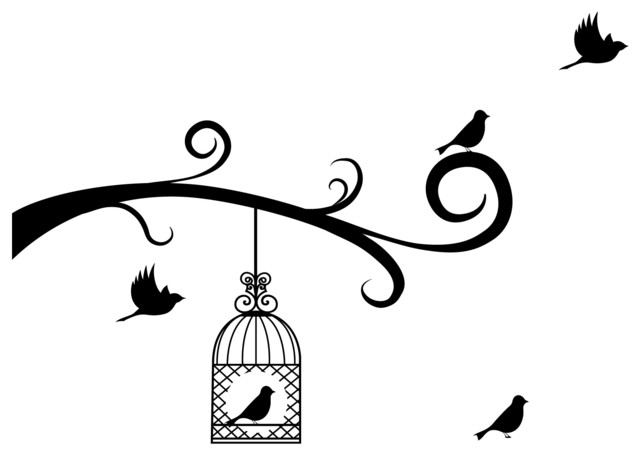 Shop Houzz Dana Decals Bird Cage And Birds With Tree  : contemporary wall decals from www.houzz.com size 640 x 456 jpeg 26kB