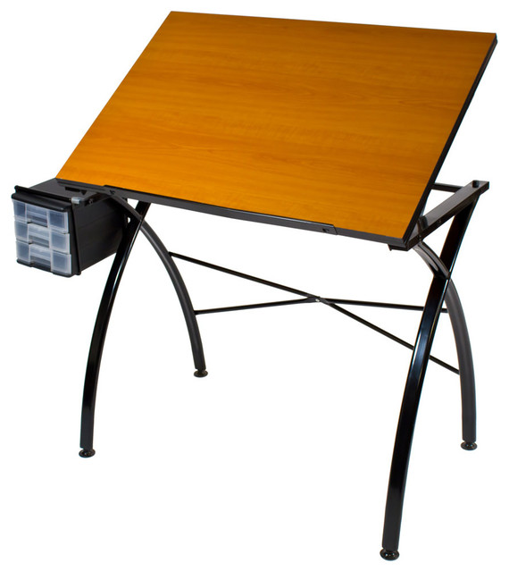 Martin Dezign Line Drawing Table Cherry Wood Top Contemporary Drafting  Tables
