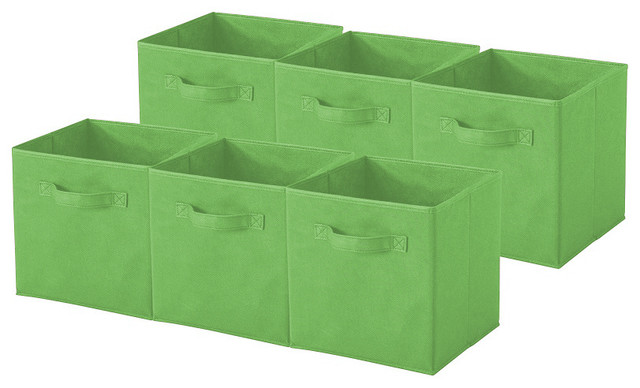 Marvelous Collapsible Storage Cube, Pack Of 6, Green Contemporary Storage Bins And