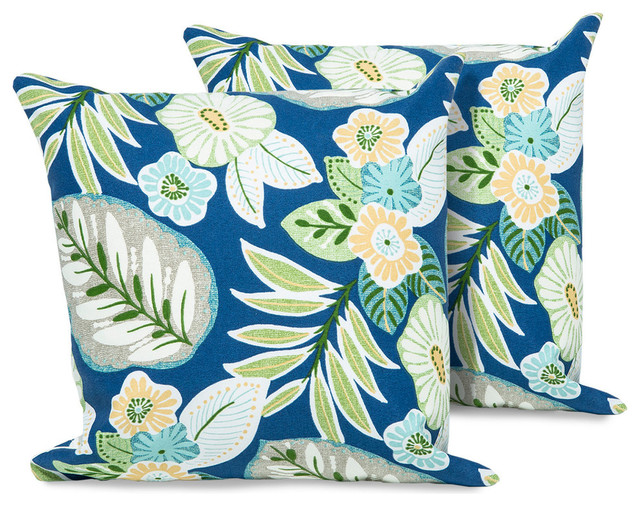 Blue Tropical Floral Outdoor Throw Pillows Square Set Of 2