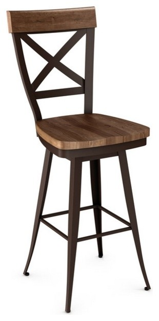 Cross Back Swivel Stool With Wood Seat, Counter Seat