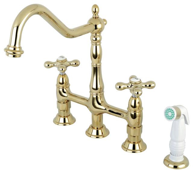 Kingston Brass Heritage Bridge Kitchen Faucet, Polished Brass
