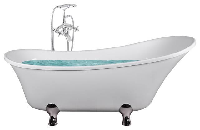 """69"""" Modern Acrylic Freestanding Bathtub With Gentle Contemporary Lines, Glossy."""