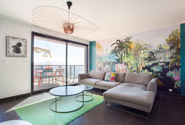 Salon contemporain dans un appartement avec vu - Contemporary - Living ...