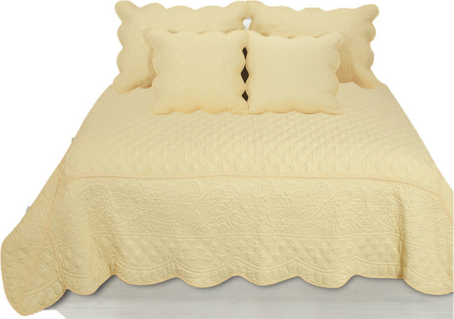 5 Piece Quilted Yellow Buttercup Puffs Bedspread Set