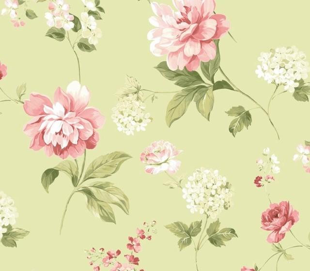 Green Peony Wallpaper, Swatch