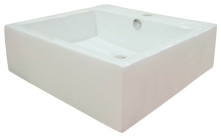 Kingston Brass Commodore Ceramic Sink With Overflow Hole, White.