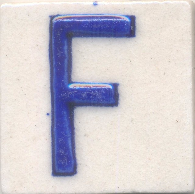 "Ceramic Tiles 2""x 2"", F, Set of 5 Tiles"