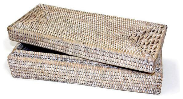 White Wash Rattan Long Rectangular Lidded Box Contemporary Decorative Boxes