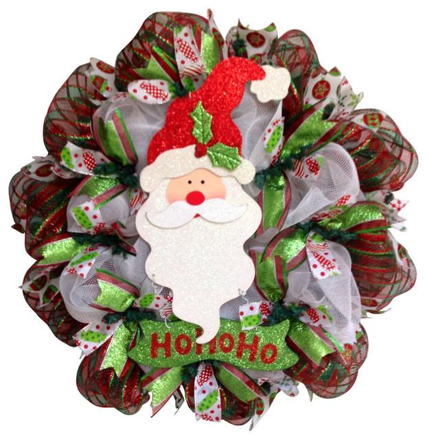 Jolly Ho Ho Ho Santa Christmas Deco Mesh Wreath.