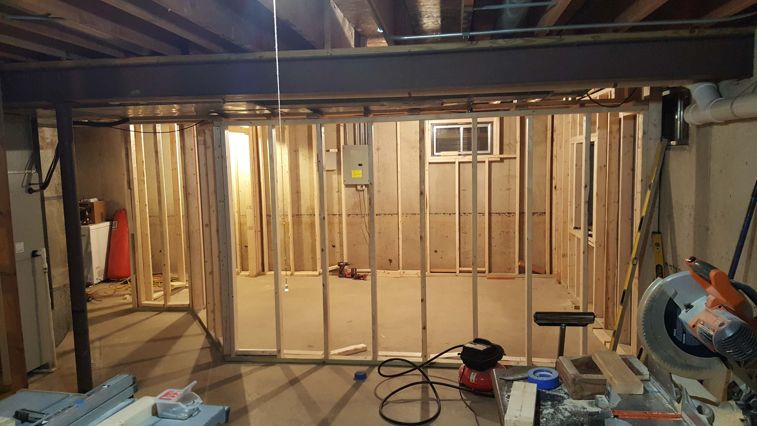 Framing out a basement bedroom/office