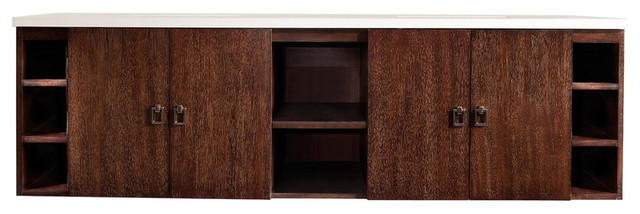 72 Sonoma Double Vanity With Arctic Fall Top, Coffee Oak.