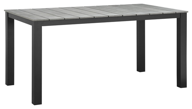 Modway Maine 63 Outdoor Patio Dining Table Brown Gray
