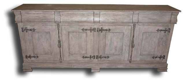 Philippe Pickled Antique White Sideboard - Traditional - Buffets And Sideboards - by EuroLuxHome