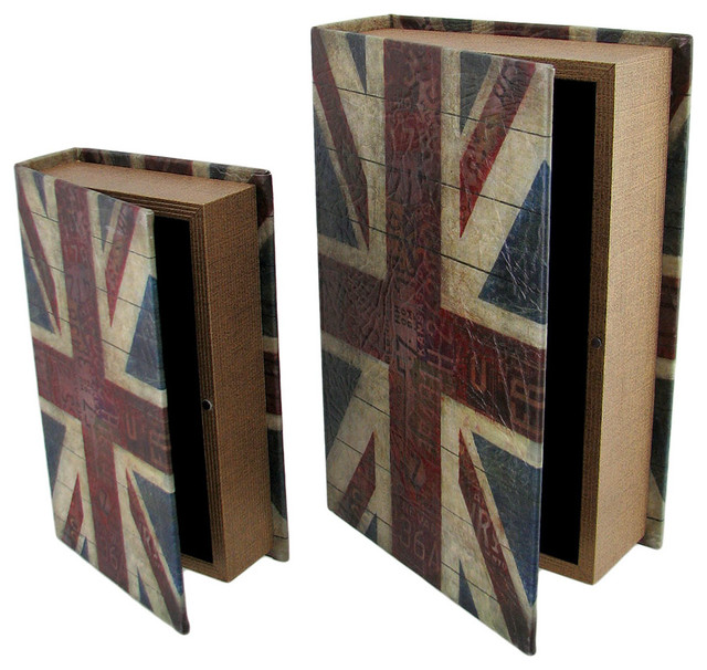 British Flag Print Faux Leather Book Secret Stash Boxes, 2 Piece Set