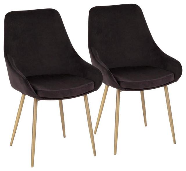LumiSource Diana Chair, Set of 2, Satin Brass Metal/Black Velvet