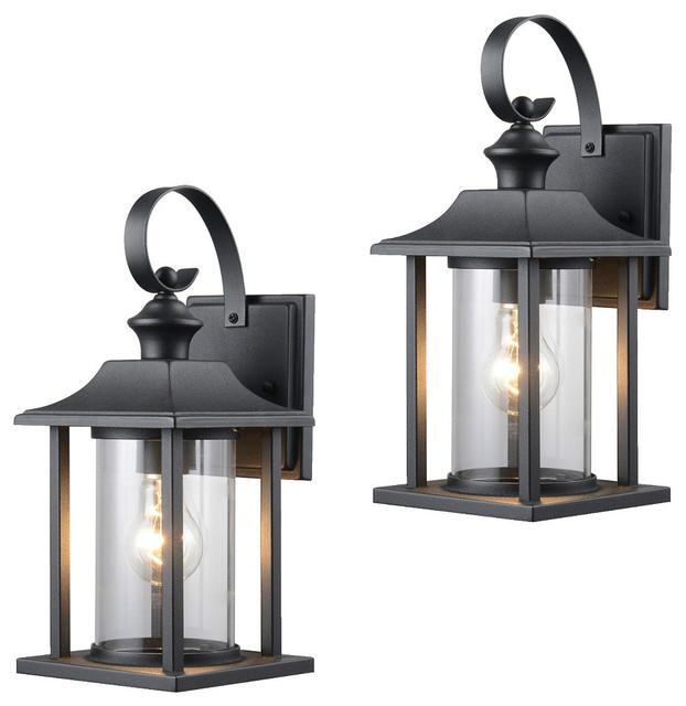 Textured Black Outdoor Patio Exterior Light Fixture Set Of 2 23 0414