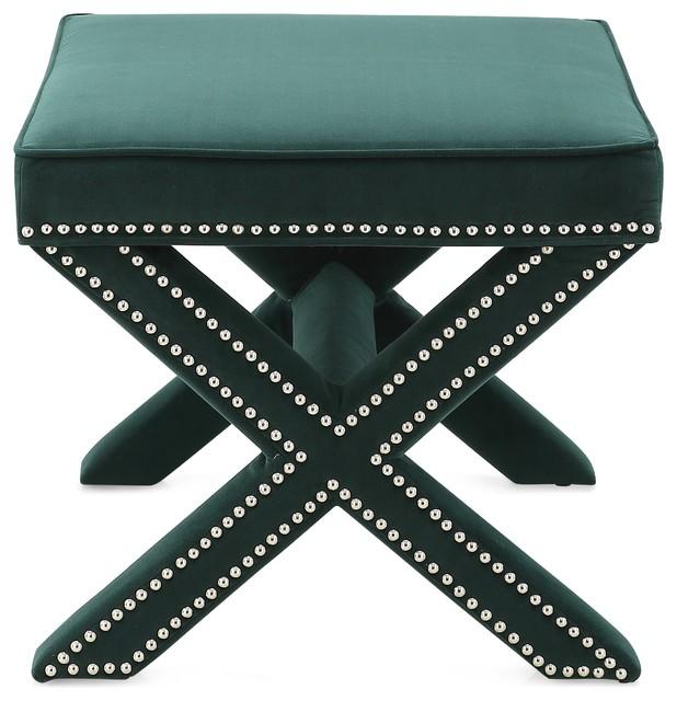 Fabulous M72 Cross Legs Ottoman In Velvet Forest Green Theyellowbook Wood Chair Design Ideas Theyellowbookinfo