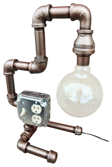 Steampunk Table Lamp, Black Pipe Industrial Table Lamps Part 35