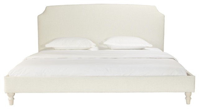 Jackie Beige Upholstered Panel Bed With Scoop Corner Headboard, Queen, Queen.