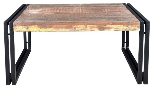 "Old Reclaimed Wood Coffee Table, 35""x35""x18""."