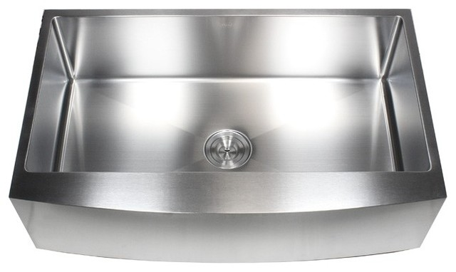 """Stainless Steel Curved Front Farm Apron Single-Bowl Kitchen Sink, 36""""."""