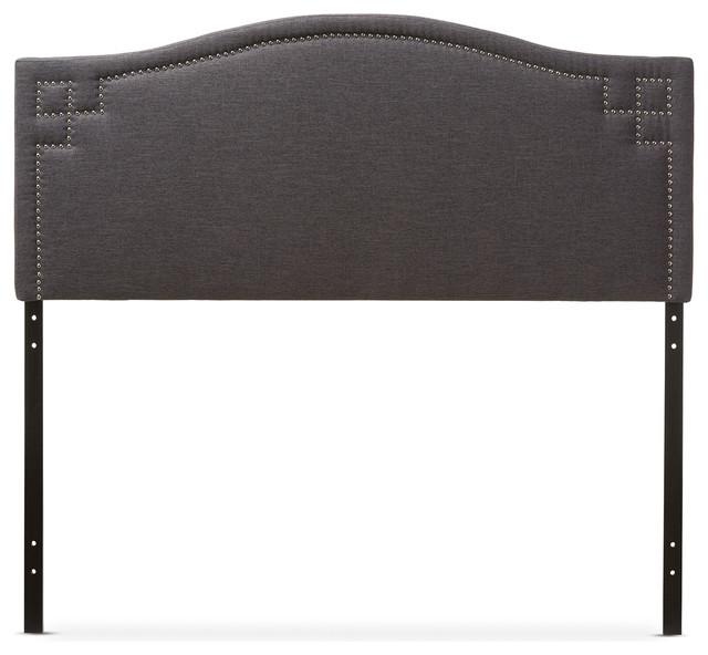 Aubrey Fabric Upholstered Headboard, Dark Gray, Queen.
