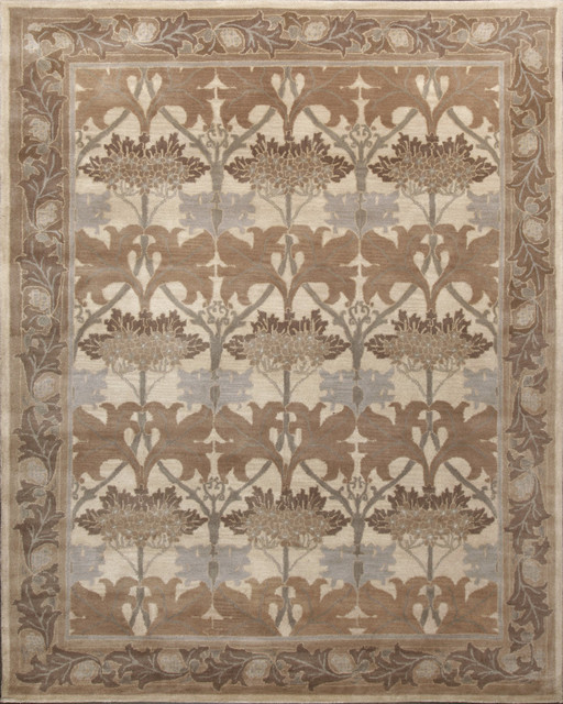 Rugsville Arts And Crafts Neutral Wool 12119 Rug 8x10 Traditional Area Rugs