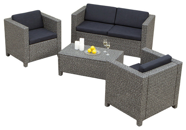 Gdf Studio 4 Piece Venice Outdoor Wicker Sofa Set Tropical Lounge Sets By Gdfstudio