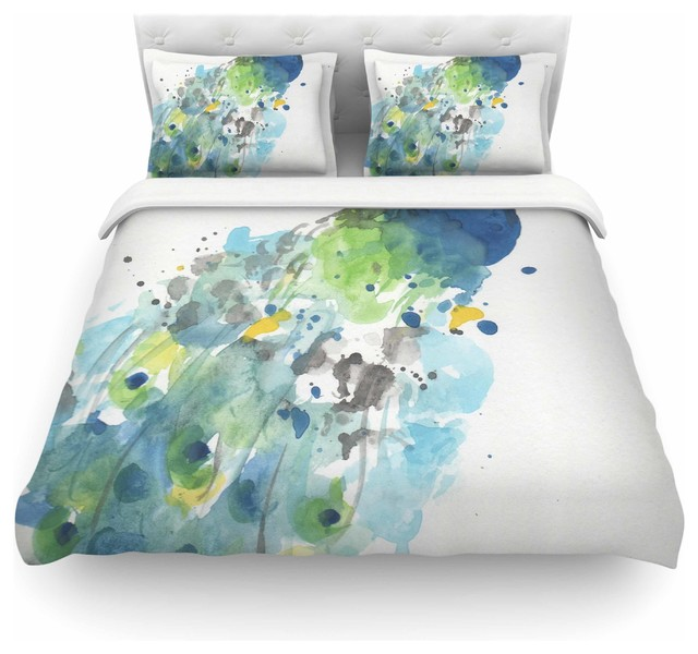 Rebecca Bender Quot Abstract Watercolor Peacock Quot Duvet Cover