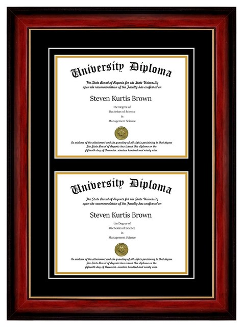 "Double Diploma Frame with Double Matting, Mahogany with Gold Lip, 11""x14"""