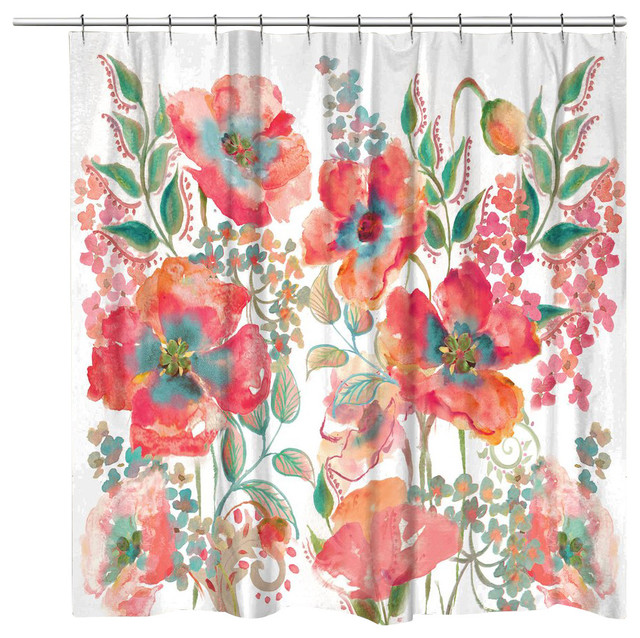 Laural Home - Bohemian Poppies Shower Curtain - View in Your Room ...