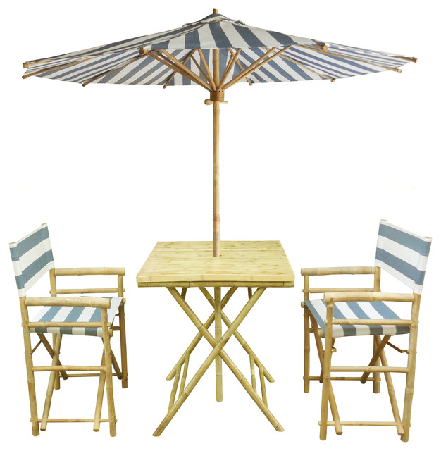 Set Of Bamboo Square Table 2 Director Chair 1 Umbrealla Beach Style Outdoor Pub And Bistro