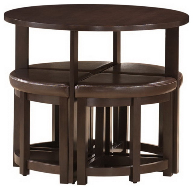 Rochester Brown Modern Bar Table Set With Nesting Stools ...