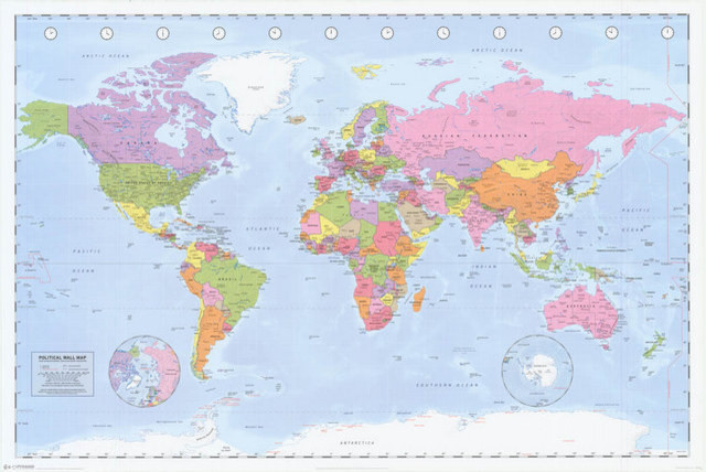 Political World Map Geography Poster 24x36 - Traditional - Prints ...