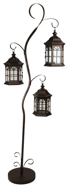 60 Rustic Pillar Candle Holder Tree With 3 Decorative Lanterns
