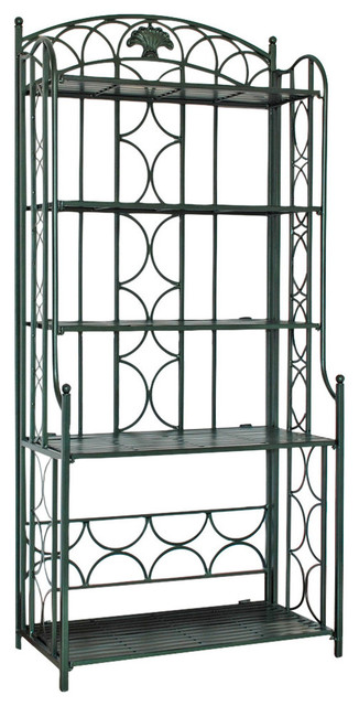 Iron 5-Tier Bakers Rack, Verdi Green.