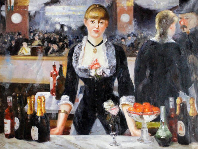 an analysis of manets painting a bar at the folies begere Manet preferred compositions with two figures as opposed to the  and his wife,  painted in the conservatory of the painter johann georges otto rosen,  ' olympia' (1863) 'a bar at the folies-bergère' (1882) and 'the café concert' ( 1878.