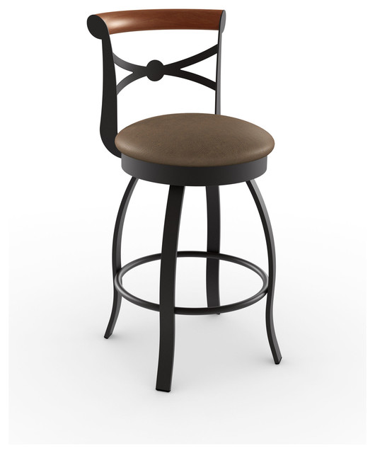 Amisco Bourbon Swivel Metal Stool Transitional Bar