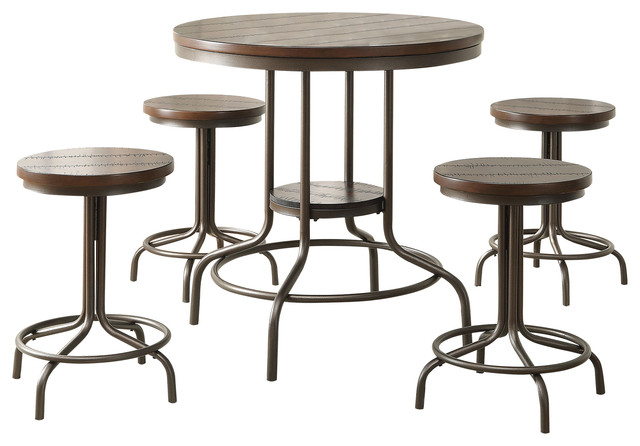 Burney 5 Piece Pack Counter Height Set Cherry Oak and