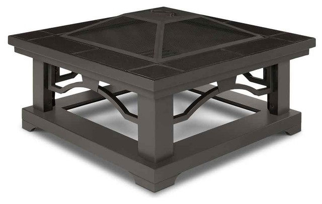 Crestone Wood Burning Fire Pit Brown Tile Traditional Fire Pits By Shopladder