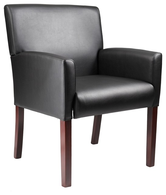 Boss Reception Box Arm Chair With Mahogany Finish Traditional Armchairs And Accent Chairs By Bisonoffice