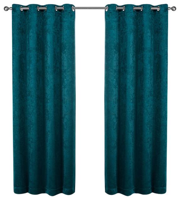 "Shantung Woven Grommet Curtains, 52""x108"", Peacock Blue, Set Of 2."