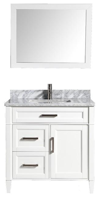 "Antoinette Carrara Marble Vanity, White, 36""."