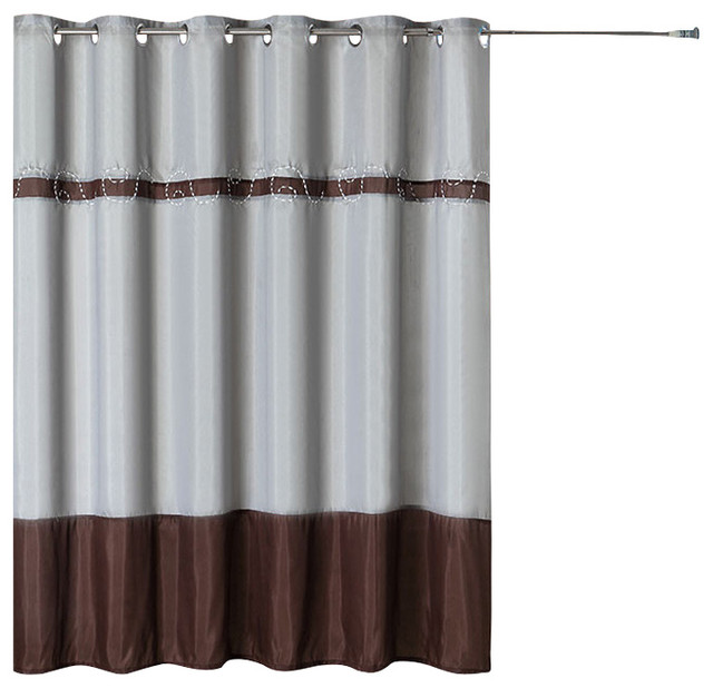Lavish Home Embroidered Shower Curtain W/ Grommets