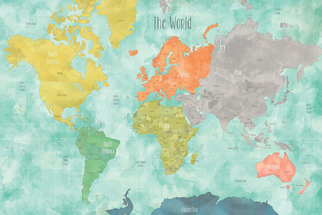 Aquarelle world map decal contemporary wall decals for Dry erase world map wall mural