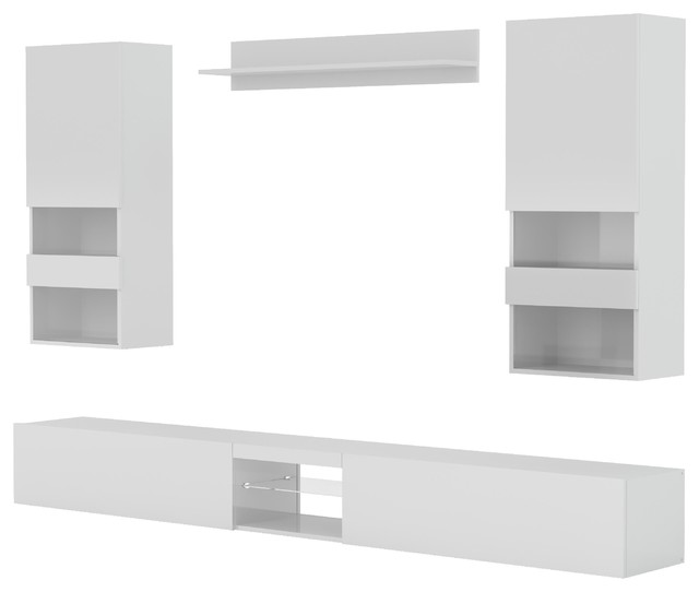 Neverland TV Stand With Wall Units, 4-Piece Set