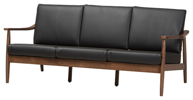 Venza Mid Century Modern Walnut Wood Black Faux Leather 3 Seater