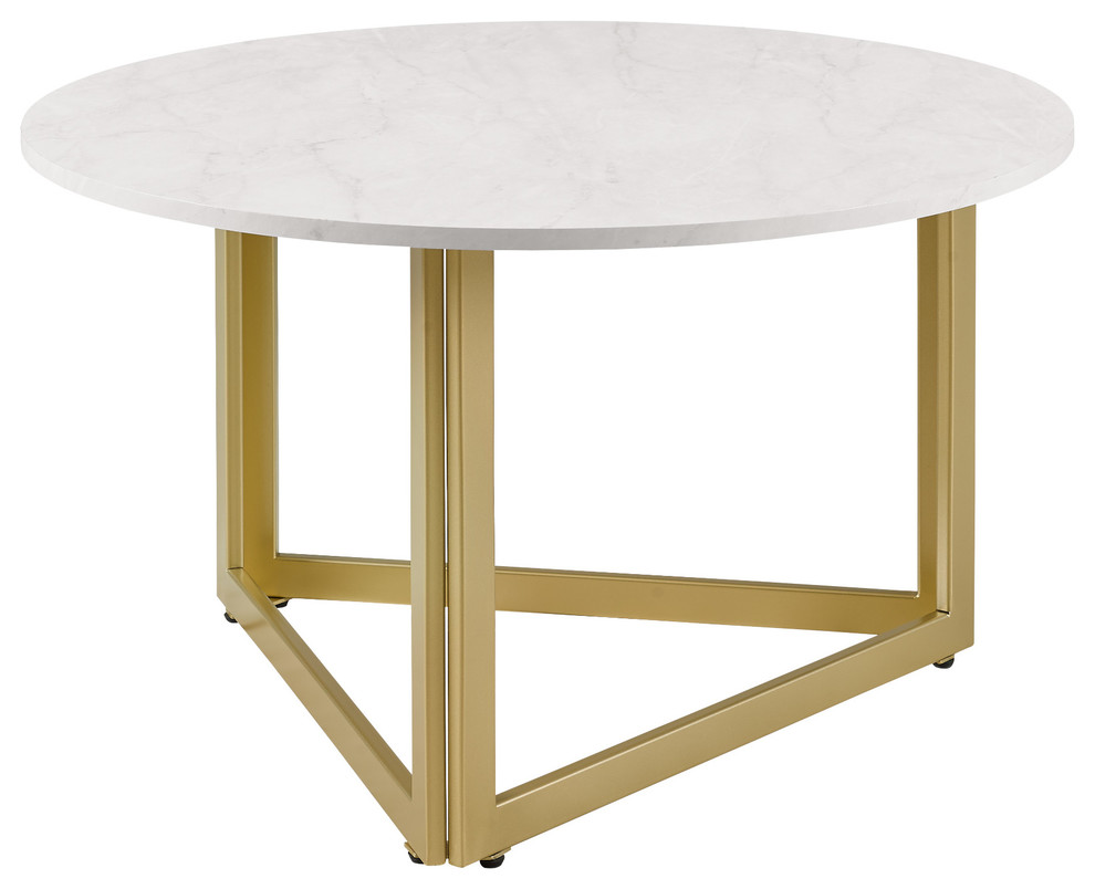 32 Modern Metal Base Round Coffee Table White Faux Marble Contemporary Coffee Tables By Walker Edison